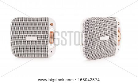 Two Angles Of White Bluetooth Speaker Isolated On White Background