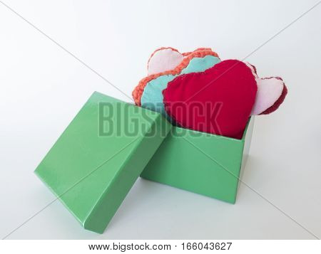 Gift Box With Colorful Hearts Made Of Wool