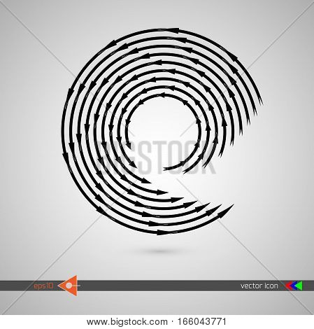Arrows Along Circle. Black Sign On White Background. Vector Illustration Web Internet Design Element
