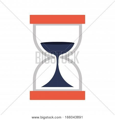 Hourglass with dark blue sand flat icon vector illustration