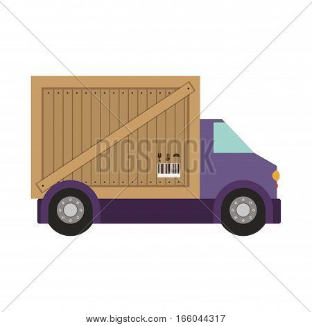 transport truck with wagon of wooden box vector illustration