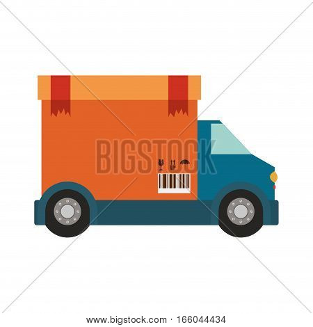 transport truck with wagon of sealed packaging tape in carton with box cover vector illustration