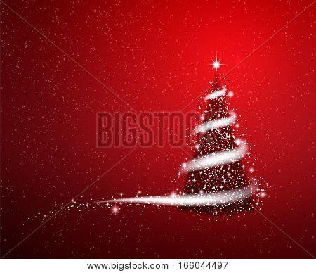 Shiny Christmas tree blizzard stars red New Year background.