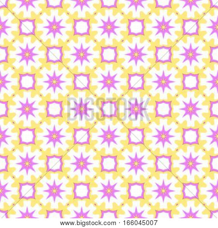 Abstract purple and yellow colorful floral pattern.  Tile texture background.  Seamless illustration.