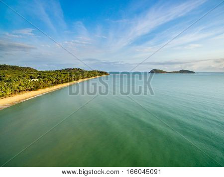 An aerial view of Double Island and Palm Cove in Cairns, Queensland, Australia