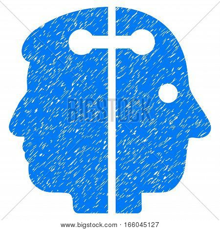 Dual Head Connection grainy textured icon for overlay watermark stamps. Flat symbol with dirty texture. Dotted vector blue ink rubber seal stamp with grunge design on a white background.