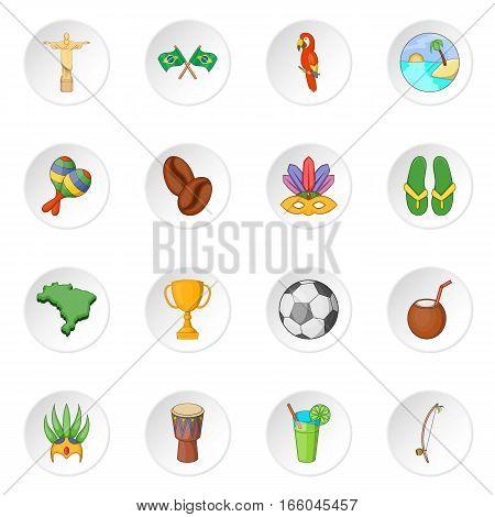 Brazil travel icons set. Cartoon illustration of 16 Brazil travel items vector icons for web