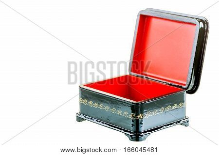 black wooden casket in retro style isolated lacquered
