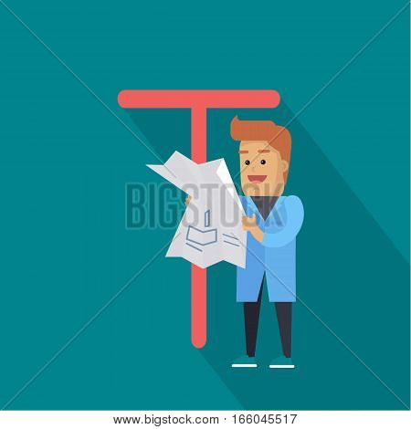 Science alphabet. Letter - T. Scientists in blue coat learn drawing. Simple colored letters and scientist character. Scientific research, science lab, science test, technology illustration.