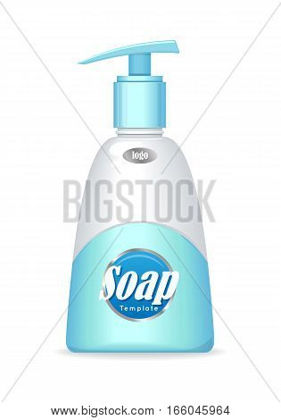 Cream soap. Liquid soap. Plastic tube with pump for cosmetics on blue background. Product for body care, beauty, health, freshness, youth, hygiene. Realistic vector illustration.