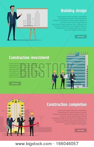 Building design. Construction investment and completion web banners set. Levels or stages of house building. Since planning till putting into operation of house in flat style. Vector illustration