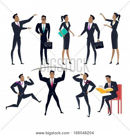 Collection of business personages in flat design. Businessman and businesswoman figures in different poses. Career, learning, competition, power, leadership, presentation concepts. Isolated on white.