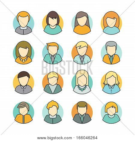 Set of people characters avatar vectors in flat design. Female and male portrait icons. Illustrations for identity in Internet, concepts, app pictograms, infographic. Isolated on white background