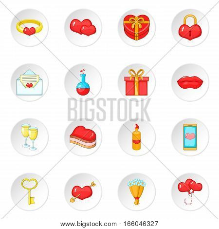 Saint Valentine day icons set. Cartoon illustration of 16 Saint Valentine day vector icons for web
