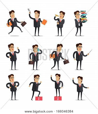 Set of businessman in different poses. Young businessman in black business suit and tie with various objects. Businessman character collection. Vector illustration in flat design.