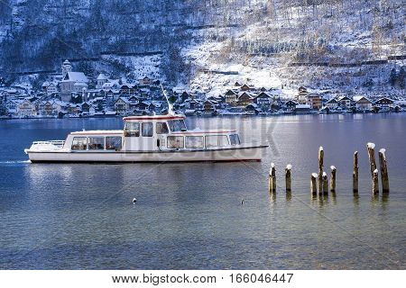 Boat - Water Bus That Using for Sight Seeing of Hallstatt at Hallstatter See Mountain Lake During the Winter