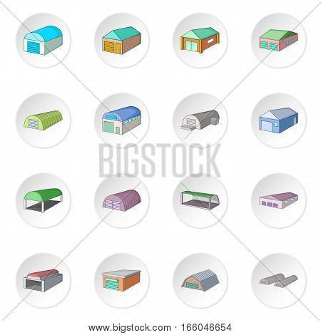 Different hangars icons set. Cartoon illustration of 16 different hangars vector icons for web