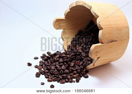 trees in tubs of coffee beans spilled on a white background isolated