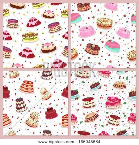 Seamless patterns set with cakes. Decorated cakes with colored frosting, fruits and chocolate. Vector in flat style. Confectionery. Dessert. Pastry shop ad, birthday or wedding greeting cards design