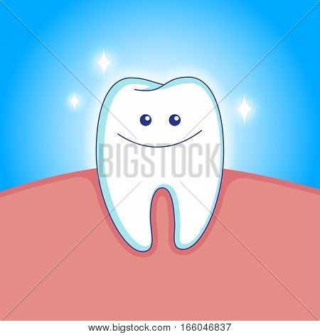 Cute white smiling tooth in animated style. Vector illustration.