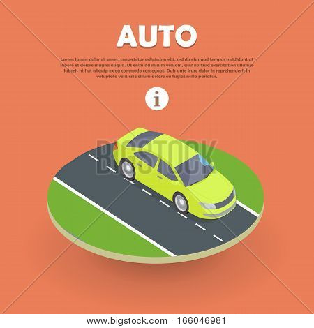 Auto on road web banner. Wheeled, self-powered motor vehicle used for transportation. Product of automotive industry. Electric car icon object logo. Auto flat style. Buy, rent car. Vector illustration