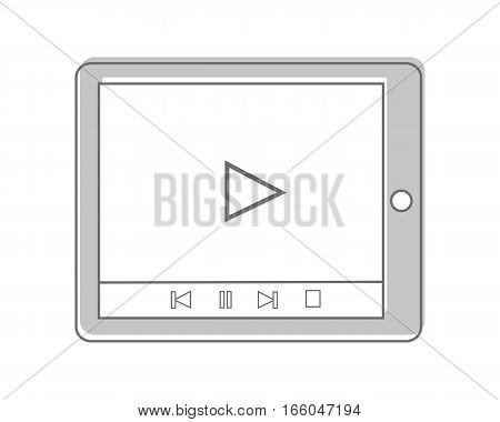 Tablet isolated on white. Video marketing. Approaches, methods and measures to promote products and services based on video. Online video, internet technology and media social marketing