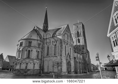 Old danish Cathedral from Old Royal Town Ribe Jutland Denmark.