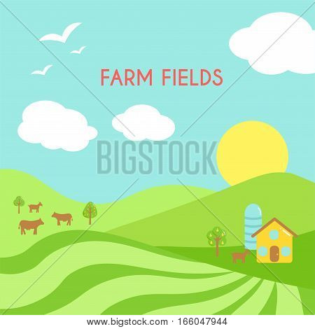 Farm fields landscape. Cartoon green field of sowing. Summer scene with hills and land and animals. Flat argriculture collection.