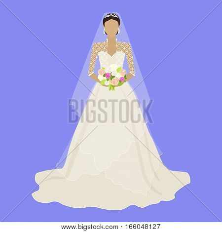 Fashion bride in luxury dress isolated. Female character without face in wedding dress in flat design. Woman template personage figure or wedding concepts, apps, logos, infographic. Vector