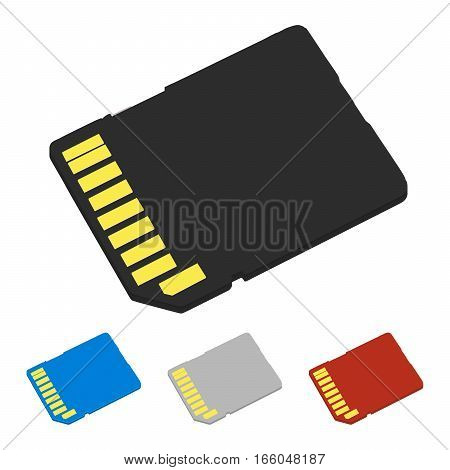 Set SD cards of different colors isolated on white background.