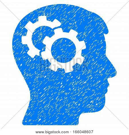 Intellect Gears grainy textured icon for overlay watermark stamps. Flat symbol with dust texture. Dotted vector blue ink rubber seal stamp with grunge design on a white background.