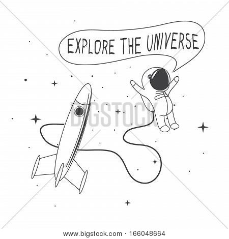 Funny astronaut flying in outer space.Explore the universe.Vector illustration