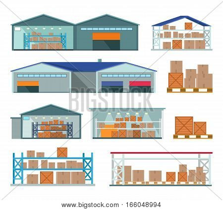Set of warehouses for goods storing and delivering. Private, public, leased, contract, automated, climate-controlled warehouses. Distribution Center. Logistics container shipping and distribution