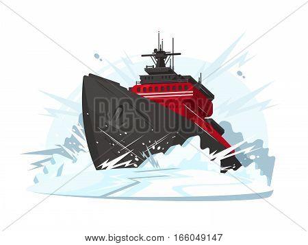 Icebreaker breaks ice in frozen sea or ocean. Vector illustration