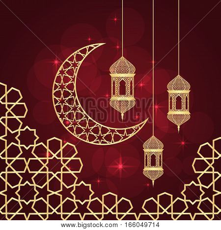 Ramadan greeting card on red background. Vector illustration. Ramadan Kareem means Ramadan is generous.