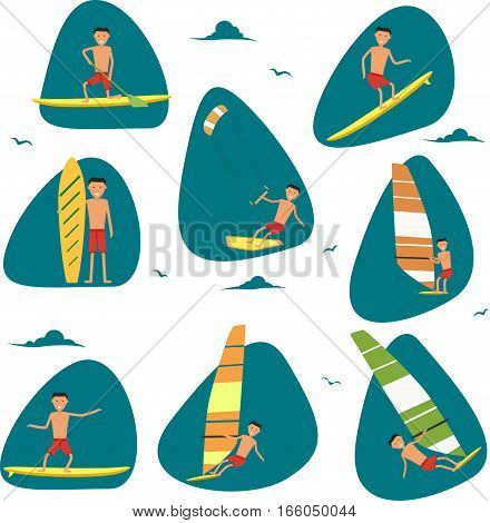 Male surfer character riding on waves in sea. Vector illustration in flat design. Summer vacation badge set