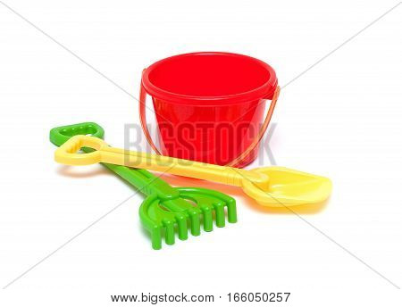 Sandpit toys isolated on a white background