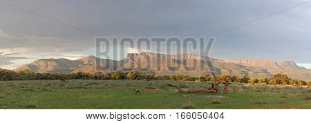 Panoramic view of a mountain range in Marakele National Park, South Africa
