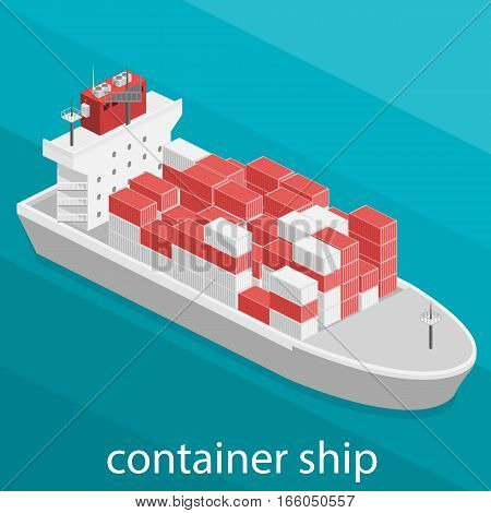 Isometric Vector Illustration River Cargo Boats Traveling On Water.