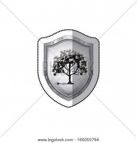 shield sticker tree with multiple leafy branches vector illustration