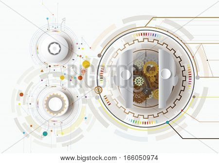 Vector illustration robot innovation and gear with icon. Hi-tech digital technology and engineering digital telecoms technology concept Abstract futurists on white background