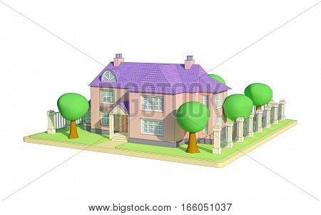 cartoon house with trees and fence 3d illustration
