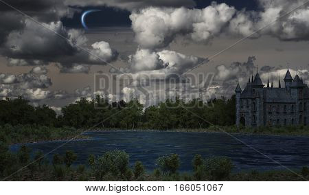 mystical castle on the lake. 3d rendering
