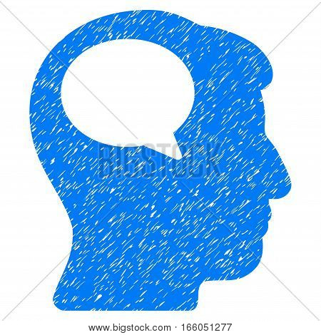 Person Thinking grainy textured icon for overlay watermark stamps. Flat symbol with dirty texture. Dotted vector blue ink rubber seal stamp with grunge design on a white background.