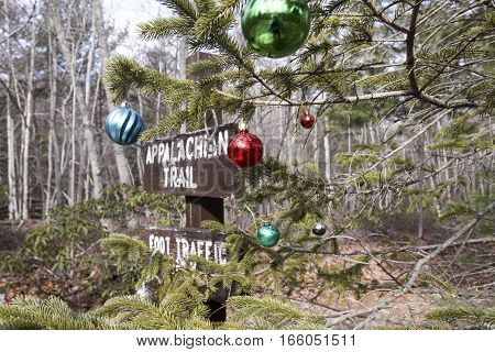 Signage along Appalachian Trail in Pennsylvania next to tree decorated with Christmas ornaments.