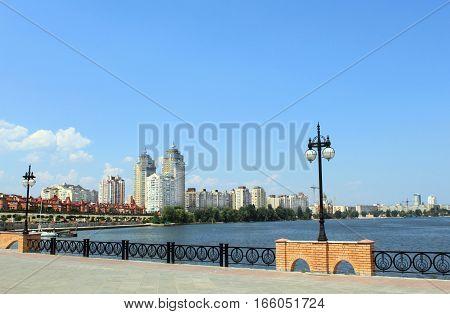 Panorama of city quay in Kyiv, Ukraine