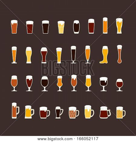 Beer glasses and mugs flat icon set, variety of beers. Vector illustration