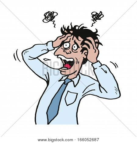 Stressed Man at Work Grabbed His Head. Businessman Illustration