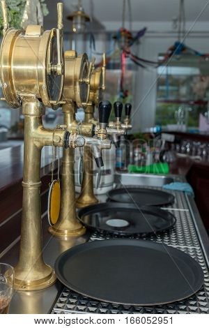 beer equipment for beer on the bar counter