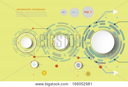 Infographics vector illustration and gear wheel on circuit board with icon Hi-tech digital technology and engineering digital telecoms technology concept Abstract futuristic- technology.